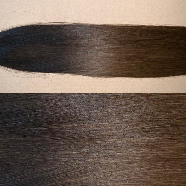 Premium Qualität: 20 x 4 cm russisches Naturhaar Balayage Farbverlauf schwarzbraun zu dunkelbraun b1