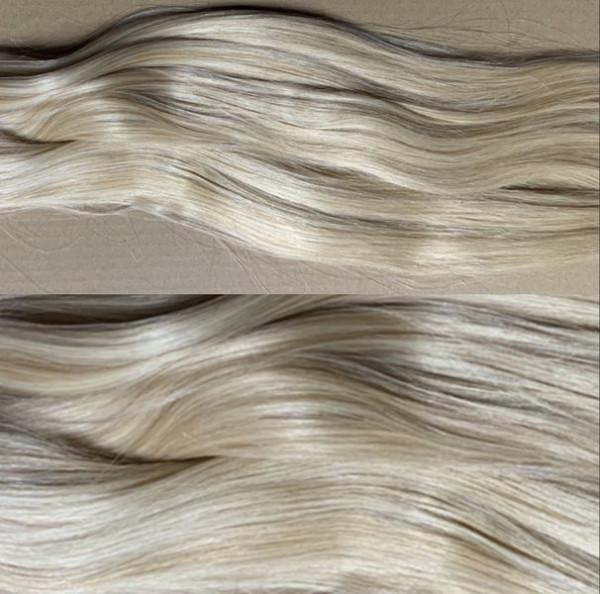1 Tresse indisches Naturhaar hellblond/dunkelblond gesträhnt p613/27
