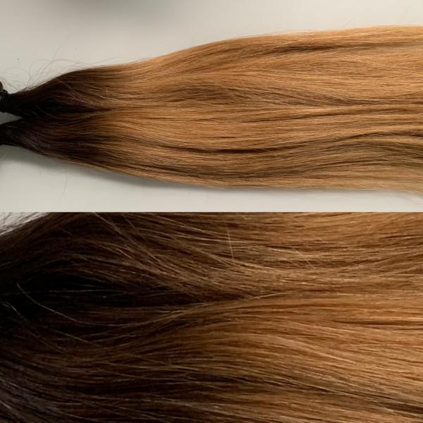 Premium Qualität: 2 x 4 cm russisches Naturhaar Farbverlauf schwarzbraun zu dunkelblond kupfer (3 er