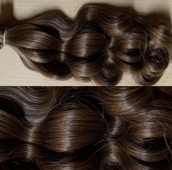 167 Strähnen russisches Haar hell-schokobraun Fb. 10 45-50 cm