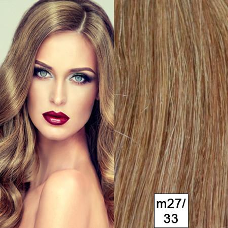200 eingefärbte Naturhaarsträhnen dunkelblond Mix m27/33