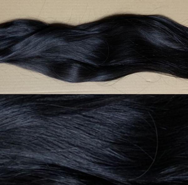 1 farblich unbehandelte indische Rohhaarsträhne schwarzbraun Naturton (3 er Bereich)