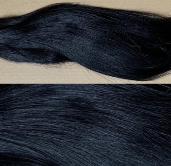 1 nahtlose Clip In Tressen Set aus indischem Schnitthaar eingefärbt in schwarz