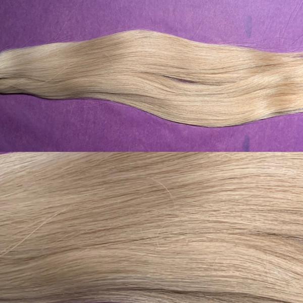 Diamond Line: 1 Strähne europäisches Schnitthaar blond matt (kein Goldstich) 9 er Bereich glatt