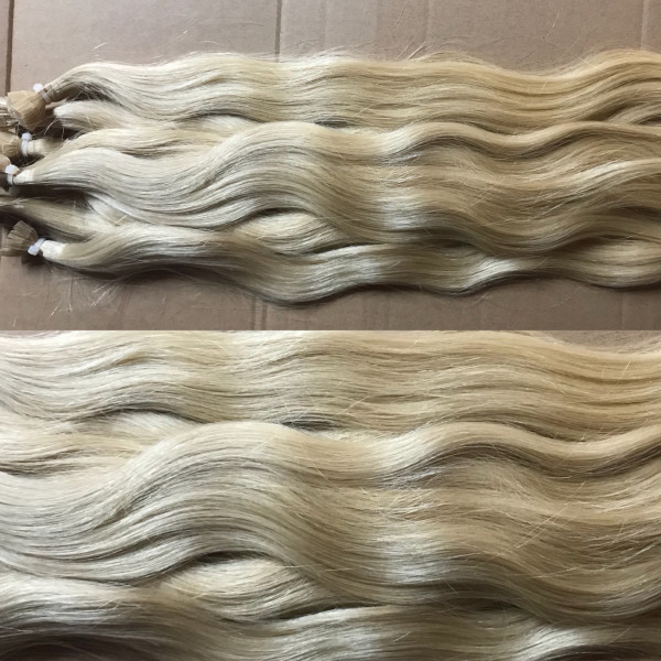 Diamond Line: 1 Strähne europäisches Schnitthaar blond matt (kein Goldstich) naturgewellt