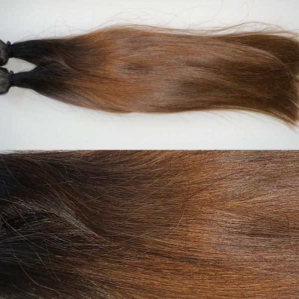 Premium Qualität: 2 x 4 cm russisches Naturhaar Farbverlauf schwarzbraun zu braun (3 er Bereich zu 6