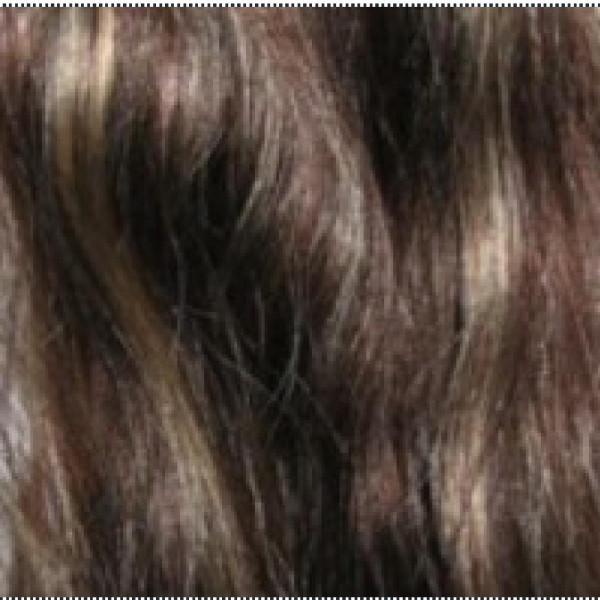 1 Naturhaarsträhne dunkelbraun/hellblond p4/613
