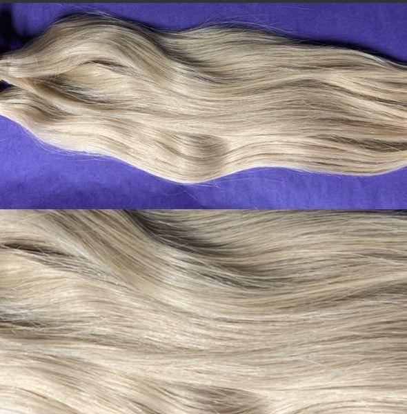 1 Clip and Go Tressen Set eingefärbt in karamell-blond 17