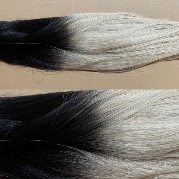 Russische Tresse in Premium Qualität Balayage Look mit Farbverlauf von schwarzbraun zu lichtblond as