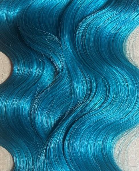 Sonderpreis: 1 indische Naturhaarsträhne 60 cm eingefärbt in türkis-blau