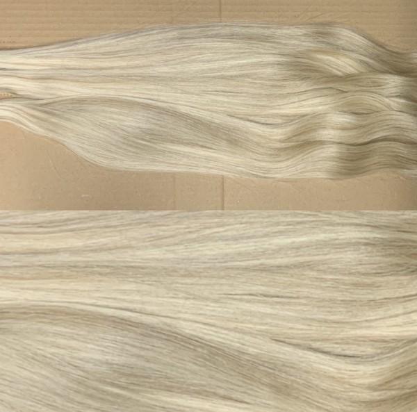 Diamond Line: 1 Strähne europäisches Schnitthaar hell-lichtblond mit dunkelblonden Strähnen