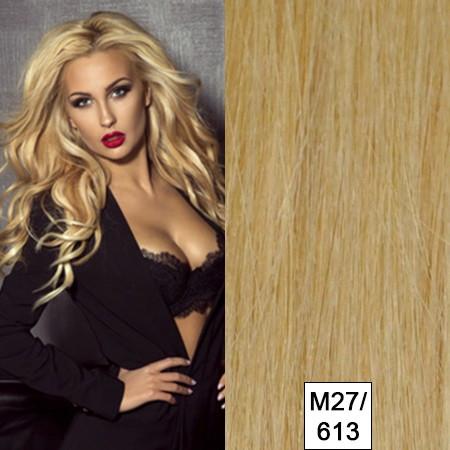 25 Strähnen russisches Naturhaar mittelblond Mix m27/613 MR