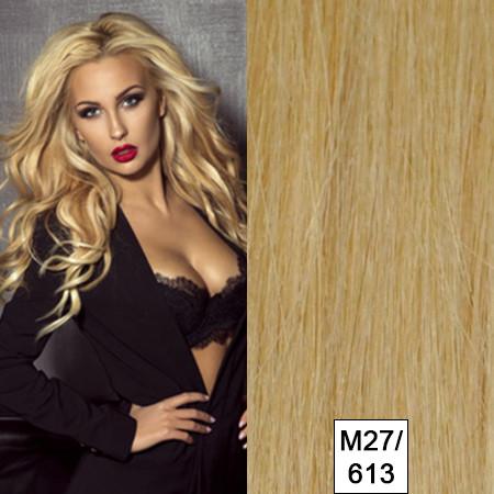 25 Strähnen albanisches Naturhaar seidenweich mittelblond-Mix m27/613