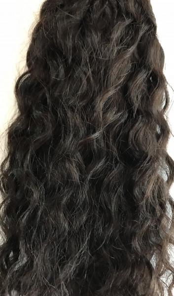 1 Tresse stark gewelltes indisches Schnitthaar schwarzbraun 40 cm
